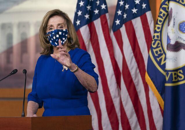 House Speaker Nancy Pelosi, of Calif., speaks during her weekly briefing, Friday, 20 November 2020, in Washington.