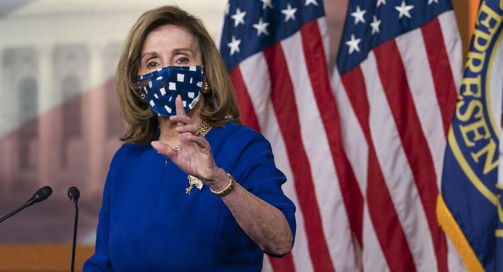 House Speaker Nancy Pelosi, of Calif., speaks during her weekly briefing, Friday, Nov. 20, 2020, in Washington.