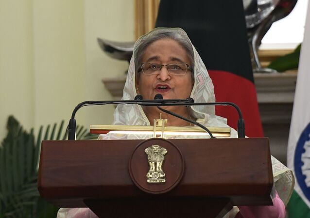 Bangladesh's Prime Minister Sheikh Hasina speaks during a press conference with India's Prime Minister Narendra Modi after a meeting in New Delhi on October 5, 2019.