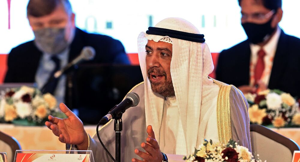 President of the Olympic Council of Asia Ahmad al-Fahad al-Sabah speaks during the 39th Olympic Council of Asia (OCA) General Assembly Meeting in the Omani capital Muscat on December 16, 2020 in which they will select host city for 2030 Asian Games.