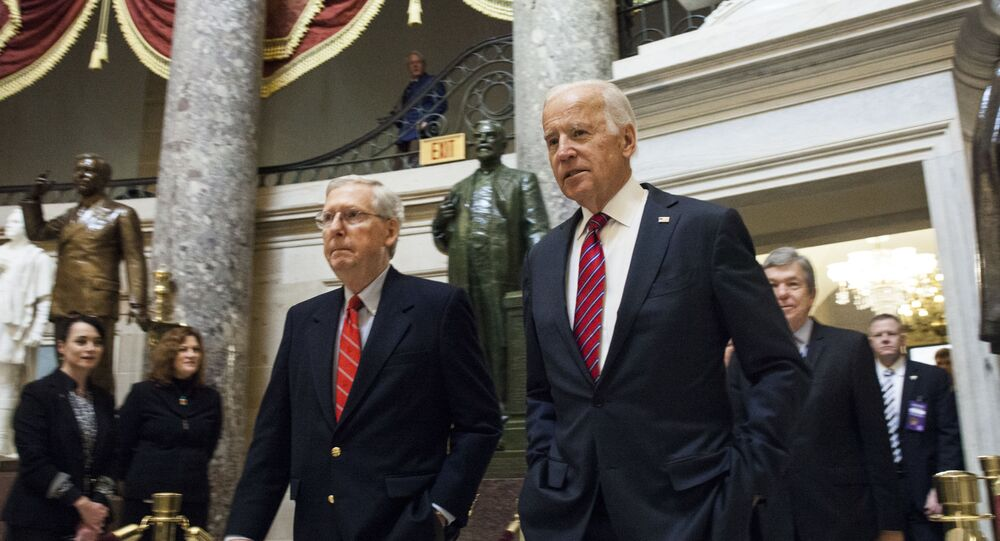 Republican Senate Majority Leader Mitch McConnell and Vice President Joe Biden, 2017 file photo.