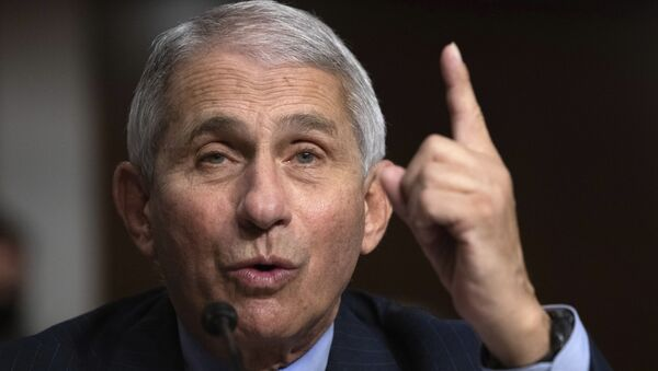 Dr. Anthony Fauci, Director of the National Institute of Allergy and Infectious Diseases at the National Institutes of Health, testifies during a Senate Senate Health, Education, Labor, and Pensions Committee Hearing on the federal government response to COVID-19 on Capitol Hill Wednesday, Sept. 23, 2020, in Washington - Sputnik International