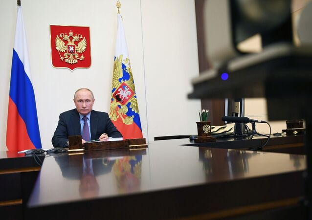 Russian President Vladimir Putin attends a meeting on economic issues via teleconference call at Novo-Ogaryovo state residence, outside Moscow, Russia