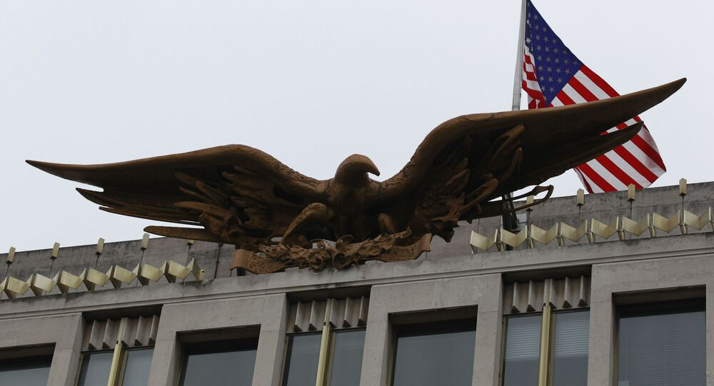 A US flag flies above the Bald Eagle statue by Theodore Roszak atop the  old American embassy in Grosvenor Square, London, Monday, 6 December 2010.