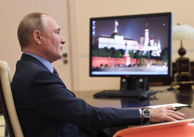 Russian President Vladimir Putin holds a meeting of the Council for Civil Society and Human Rights via video link from the Novo-Ogarevo residence, outside Moscow, Russia