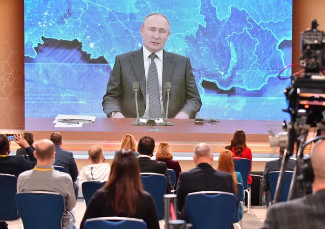 December 17, 2020. Russian President Vladimir Putin via videoconference participates in the annual press conference at the World Trade Center on Krasnaya Presnya