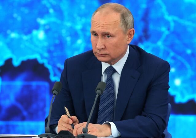 Russian President Vladimir Putin during his annual press conference on 17 December 2020
