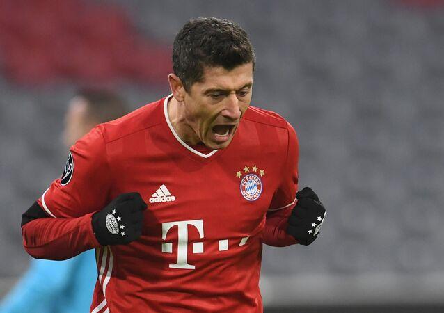 Soccer Football - Champions League - Group A - Bayern Munich v FC Salzburg - Allianz Arena, Munich, Germany - November 25, 2020 Bayern Munich's Robert Lewandowski celebrates scoring their first goal.