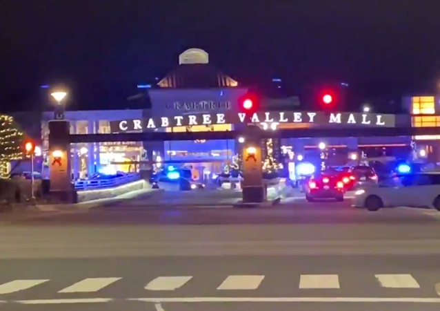 Screenshot from a video showing Crabtree Valley Mall in Raleigh, North Carolina, where police responded to reports of gunfire