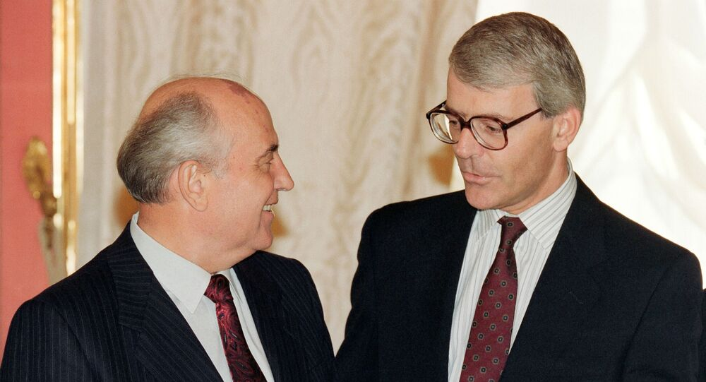 British Prime Minister John Major chats with the Soviet leader Mikhail Gorbachev at the Kremlin in Moscow in 1991