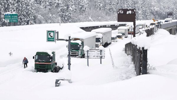 Vehicles are stranded on the snow-covered Kanetsu expressway in Minamiuonuma in Niigata Prefecture, Japan in this photo taken by Kyodo December 18, 2020. - Sputnik International