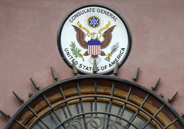 American emblem seen on the building of the US consulate in St. Petersburg