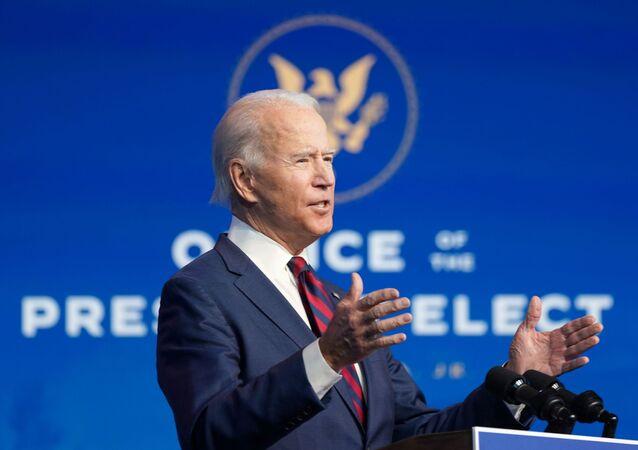 U.S. President-elect Joe Biden introduces key members of their administration in Wilmington, Delaware, U.S., December 19, 2020. REUTERS/Kevin Lamarque