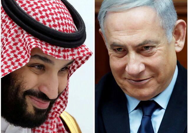 A combination picture shows Saudi Arabia's Crown Prince Mohammed Bin Salman in Osaka, Japan, 29 June 2019 and Israeli Prime Minister Benjamin Netanyahu in Jerusalem, 9 February 2020.