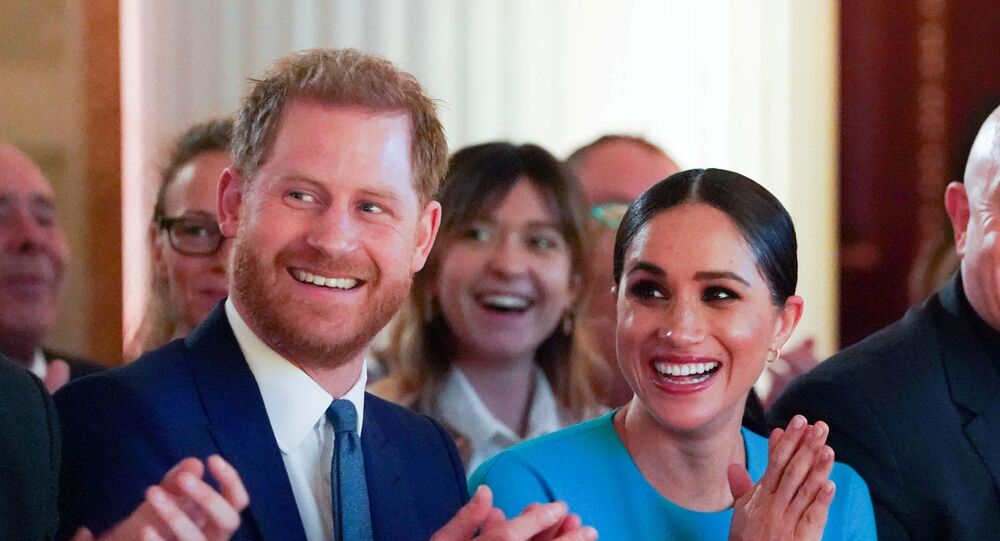 Britain's Prince Harry and his wife Meghan, Duchess of Sussex, cheer during the annual Endeavour Fund Awards at Mansion House in London, Britain March 5, 2020