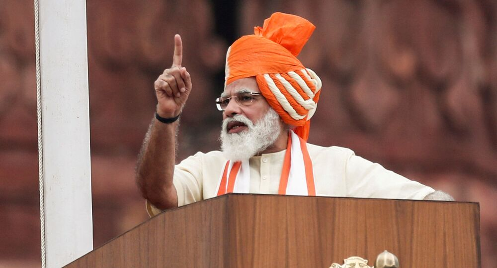 Indian Prime Minister Narendra Modi addresses the nation during Independence Day celebrations at the historic Red Fort in New Delhi, August 15, 2020