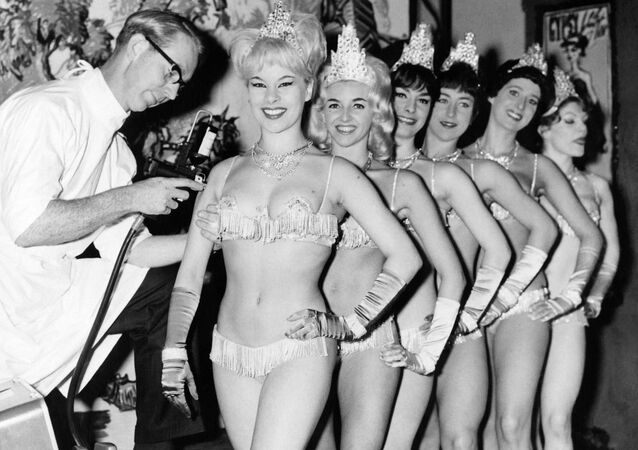 The Windmill Girls, showgirls from the Windmill Theatre in London, are vaccinated against influenza on 12 September 1963.