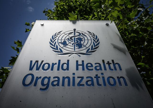 This photograph taken on 3 July 2020, shows a World Health Organization (WHO) sign at their headquarters in Geneva, amidst the COVID-19 outbreak, caused by the novel coronavirus.