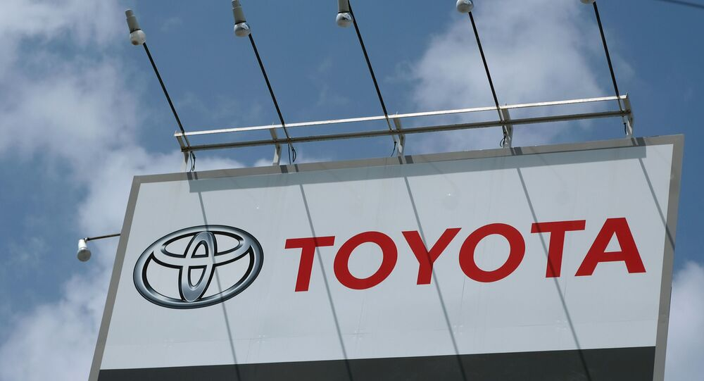 The logo of Japan's Toyota Motor is displayed at the company's dealer shop in Tokyo on August 6, 2020.