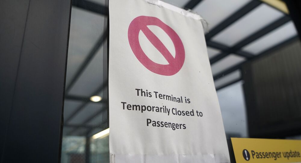 A sign alerts travels to the closure of Terminal 3 at Heathrow Airport in west London on December 21, 2020, as a string of countries around the world banned travellers arriving from the UK, due to the rapid spread of a new, more-infectious coronavirus strain.
