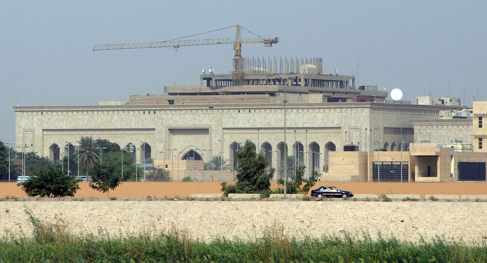 11 2007 shows in the forefront the US embassy complex in Baghdad and in the background cranes towering over the construction site of the International High Tribunal courthouse in the heavily fortified Green Zone