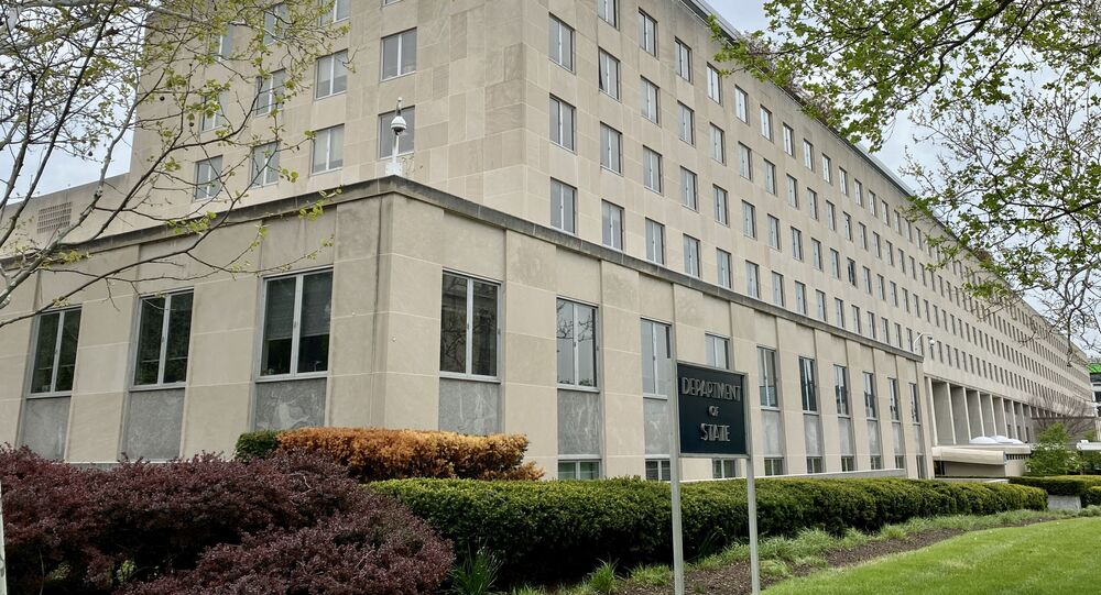 The Department of State building, is seen on April 20, 2020, in Washington, DC with very low activities amid the Coronavirus, COVID-19 pandemic.