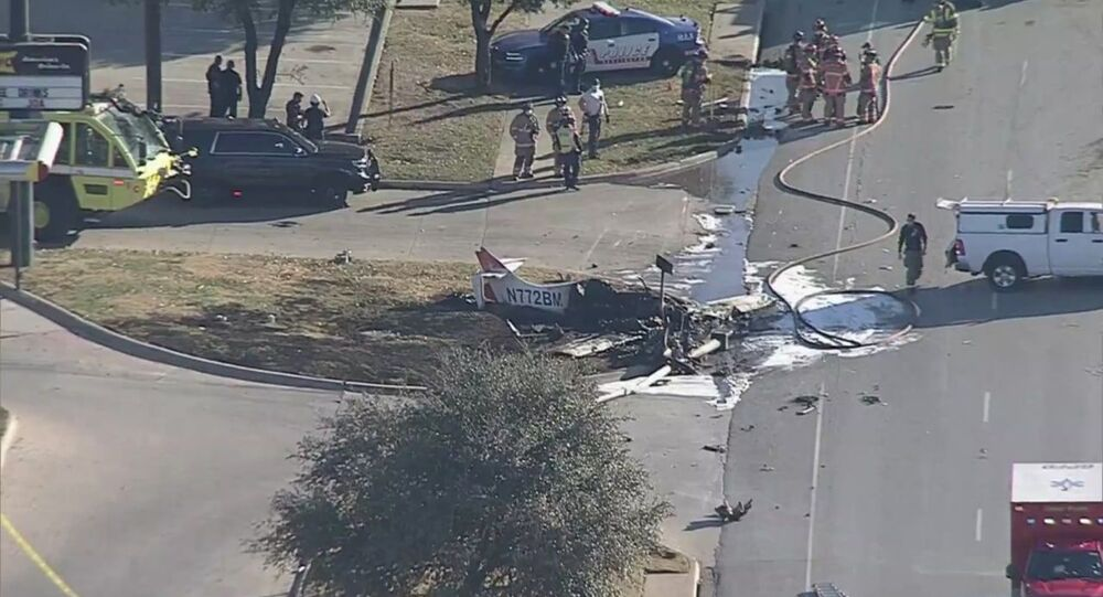A photo of the small plane crash site near Higway 360 in Texas posted of Twitter December 22, 2020.