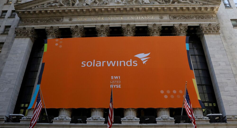 SolarWinds Corp banner hangs at the New York Stock Exchange (NYSE) on the IPO day of the company in New York, U.S., October 19, 2018