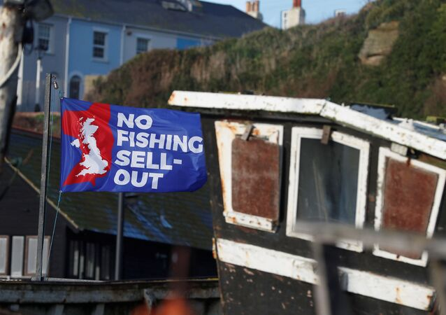A flag with a slogan supporting the UK fishing industry is seen on the beach in Hastings, Britain, 20 December 2020.