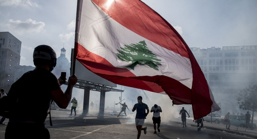 Clashes between anti-government protesters and security forces in Beirut, Lebanon.