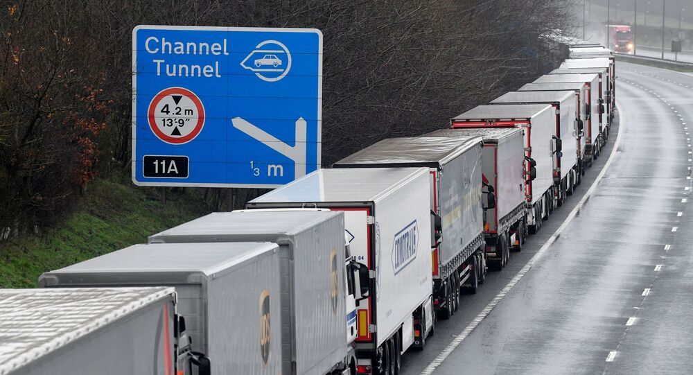Lorries are parked on the M20 motorway towards the Eurotunnel and the Port of Dover, as EU countries impose a travel ban from the UK following the coronavirus disease (COVID-19) outbreak, in Folkestone, Britain, 21 December 2020