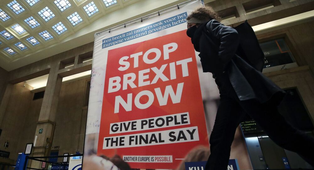 A woman walks past a billboard depicting a photo of a placard reading Stop Brexit Now at the Central railway station in Brussels, Belgium December 17, 2020.  REUTERS/Yves Herman