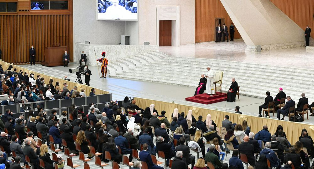 Pope Francis receives Vatican employees for presentation of Christmas greetings, at the Vatican, December 21, 2020.