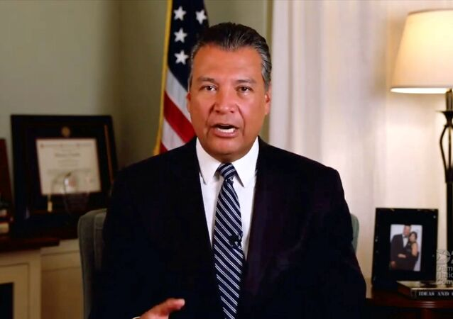 California Secretary of State Alex Padilla speaks by video feed during the 4th and final night of the 2020 Democratic National Convention, as participants from across the country are hosted over video links from the originally planned site of the convention in Milwaukee, Wisconsin, U.S. August 20, 2020.