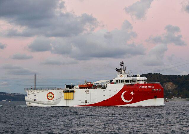 Turkish seismic research vessel Oruc Reis sails in the Bosphorus in Istanbul, Turkey, November 12, 2018.