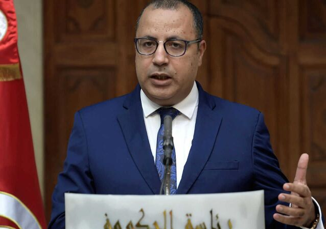 A photo of Tunisian Prime Minister Hichem Mechichi during his press conference on Tuesday, posted on Twitter on December 22, 2020