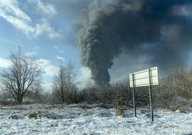 A photo of the oil train derailment in Whatcom County, Washington, posted on Twitter on December 22, 2020