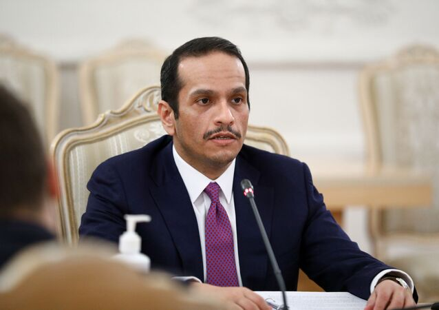 Qatari Foreign Minister Mohammed bin Abdulrahman Al-Thani attends a meeting with his Russian counterpart Sergei Lavrov in Moscow, Russia December 23, 2020.