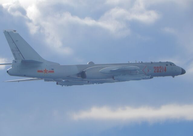 A People's Liberation Army (PLA) H-6 bomber flies on a mission near the median line in the Taiwan Strait, which serves as an unofficial buffer between China and Taiwan, September 18, 2020.