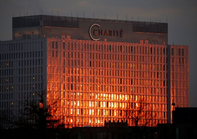 A sunrise view of Charite hospital in Berlin, Germany, December 8, 2020.