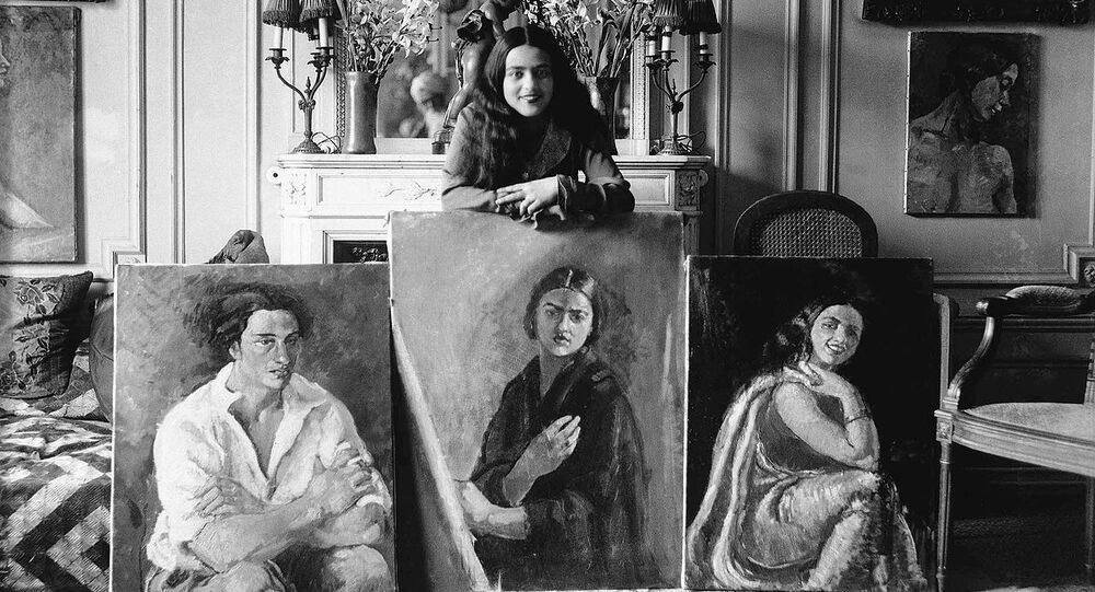 Amrita with Her Paintings