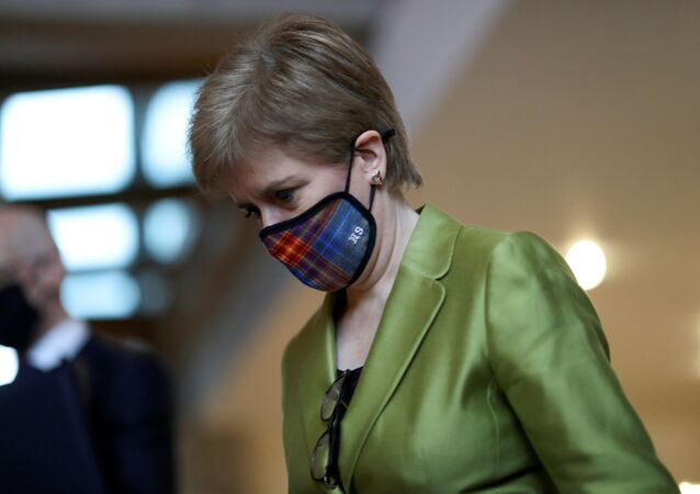 Scottish First Minister Nicola Sturgeon arrives for the First Minister's Questions at the parliament in Edinburgh, Scotland, Britain December 10, 2020.