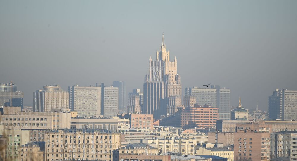View of the building of the Ministry of Foreign Affairs of Russia from the observation deck on Vorobyovy Hills in Moscow