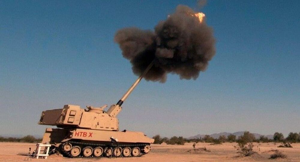 A photo of the US army's Extended Range Cannon Artillery during tests, posted on Twitter