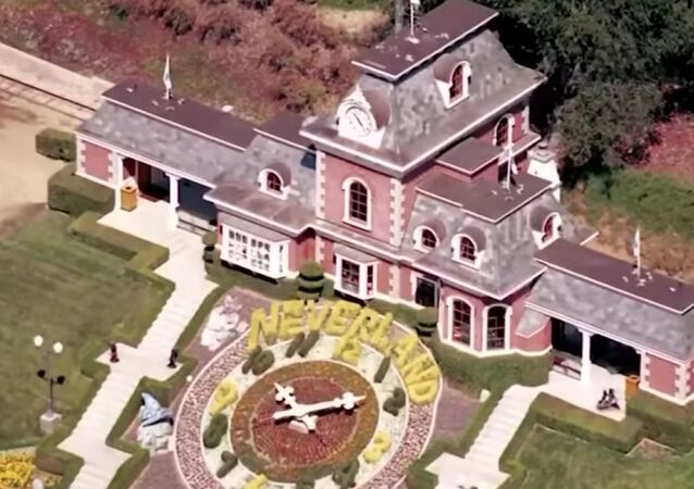 Screenshot image captures an aerial view of Michael Jackson's Neverland Ranch in Los Olivos, California.