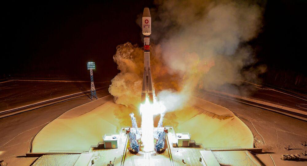 Soyuz-2.1b rocket booster carrying the satellites of British firm OneWeb blasts off from a launch pad at the Vostochny Cosmodrome in Amur Region, Russia December 18, 2020.