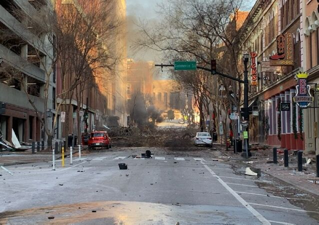 A photo of the consequences of the morning Nashville explosion in the US posted on Twitter, December 25, 2020