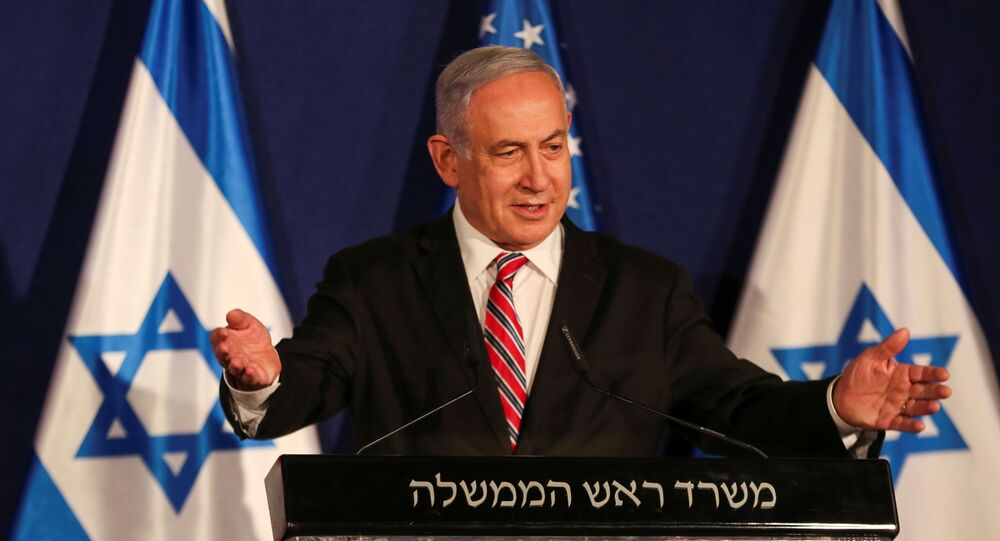Israeli Prime Minister Benjamin Netanyahu speaks during a news conference with White House senior adviser Jared Kushner (not pictured), in Jerusalem December 21, 2020.