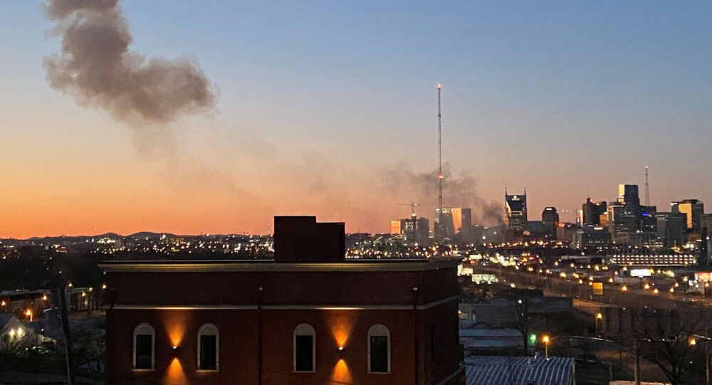 Smoke billows from the site of an explosion in the area of Second and Commerce in Nashville, Tennessee, U.S. December 25, 2020.