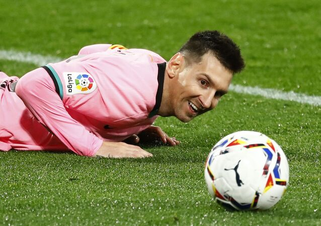 Barcelona's Lionel Messi reacts after missing a chance to score, December 22, 2020